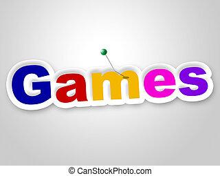 게임, 표시, 표현한다, 놀이 시간, 와..., 재미