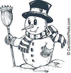 겨울, 눈사람, 주제, 그림, 1
