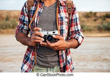 격자 무늬안에남자, 셔츠, 보유, 늙은, 포도 수확, 사진 카메라