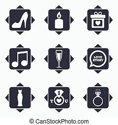 결혼식, 교전, icons., 반지, 와, diamond.