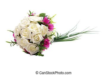 결혼식 꽃다발, 고립된, 백색 위에서, 배경, 스튜디오, 발사.