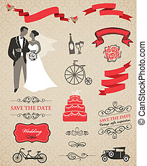 결혼식, 벡터, 세트, 와, 문자로 쓰는, 성분