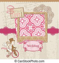 결혼식, 스크랩북, 카드, -, 치고는, 결혼식, 디자인, 초대, 축하, 스크랩북, -, 에서, 벡터