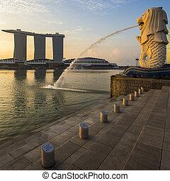 경계표, merlion, 해돋이, 싱가포르