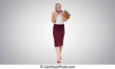 경사, 쇼핑, 배경., 여자, 은 자루에 넣는다, 전화, 말하는 것