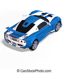 경주용 차, 공상, 파랑, 백색