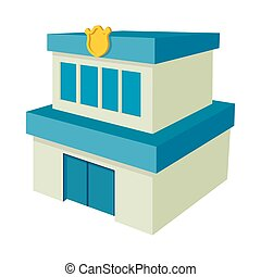 경찰국, 건물, 아이콘, 만화, 스타일