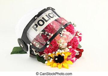 경찰, 헬멧, 와..., flowers., a, 개념, 향하여, 폭력