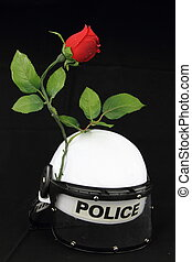 경찰, 헬멧, 와..., rose., a, 개념, 향하여, 폭력