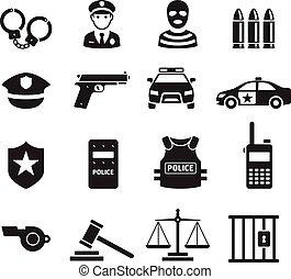 경찰, icons., 벡터, illustrations.
