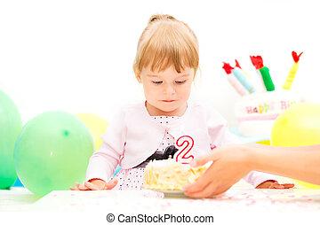 경축하는, 거의, 생일 소녀, 둘