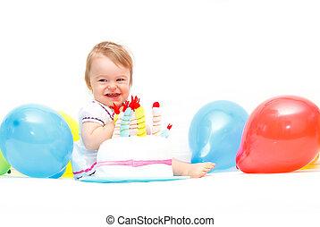 경축하는, 생일, 처음