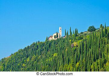 경치가 좋은 전망, 의, tuscany, 조경술을 써서 녹화하다