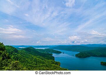 계곡, 산 호수, jocassee, 시골, 사우스 캐롤라이나