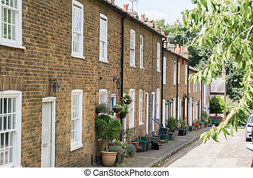 계단식 단을 만들어진다, 집, 통하고 있는, a, 전형적인, 영어, 주거다, 거리