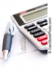 계산기, 세금, 펜