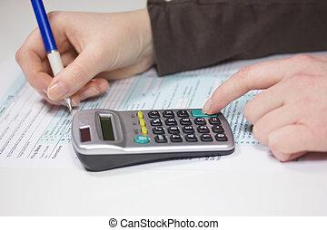 계산기, 세금, 펜, 은 형성한다, 서류 작성, 수입
