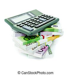 계산기, 회계, 계산서, 재정, 유러, concept.