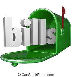 계산서, 낱말, 에서, 우체통, 지불, 아래로의, 빚, 신용 카드, 지불