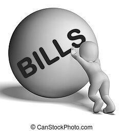 계산서, 성격, 쇼, 청구서, 또는, 지불 계정