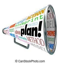 계획, 낱말, bullhorn, 메가폰, 퍼짐, 전략, 생각