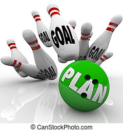 계획, 볼링공, 은 명중한다, 목표, 핀, 목표, 교양이 있는