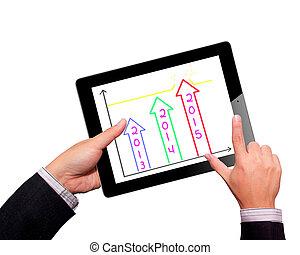 계획, 성장, 이익, 통하고 있는, touchpad