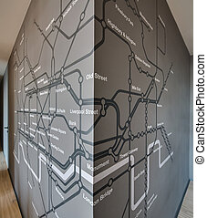 계획, 지하런던, 통하고 있는, 그만큼, 회색, 벽