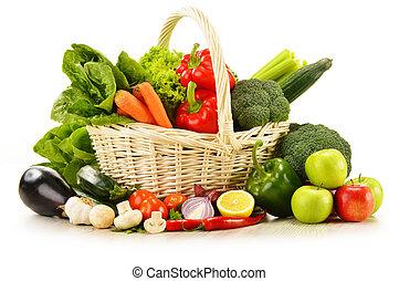고리버들 세공, 야채, 고립된, 살갗이 벗어진, 바구니, 백색