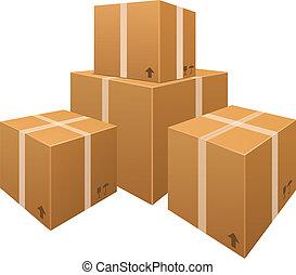 고립된, 상자, 벡터, 배경, 백색, 판지, 더미