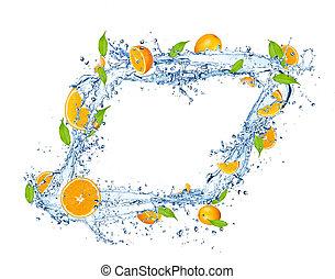 고립된, 오렌지, 물, 튀김, 배경, 신선한, 눈이 듯한, 백색