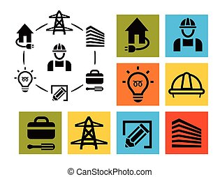 고립된, 전문가, 전기공, 아이콘, 세트, 장비, 와..., 도구, 로고, 수집, 전기, pictogram, 성분, 벡터, 삽화