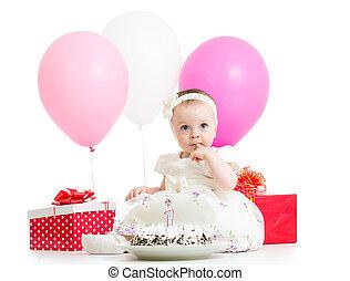 고립된, 케이크, 선물, 아기, 백색, 기구, 소녀