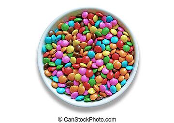 고립된, confetti., 사탕, 배경., 백색, 다채로운