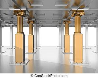 고물, 기둥, 오래되다, 회관