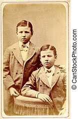 고물, 사진, 쌍둥이, 소년, circa, 1890