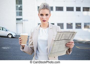 고물, 유행, 여자 실업가, 보유 신문, 와..., 커피