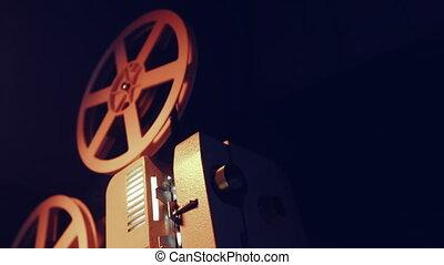 고물, 8mm, 투영기, room., 포도 수확, 구식, light., cinematograph, 암흑, 광선, 4k., 계획, retro, 물건, 노는 것, 최고, concept., 필름