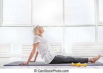 고요한, 여자, 늙은, 체조, 운동시키는 것