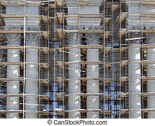 고전적인, architecture., 두 배, stalinist, repairs., 정면, 영장, 란