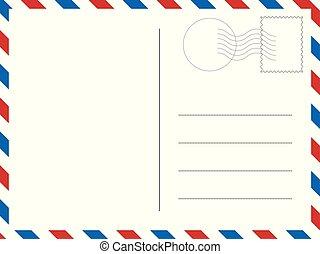 고전, postcard., 벡터, 삽화, 치고는, 너의, designs.