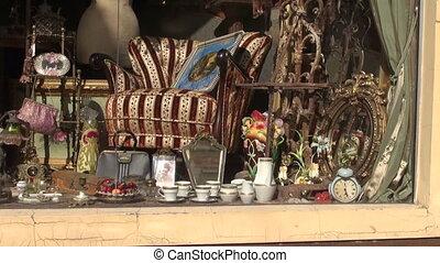 골동품 상점, 창문, 에서, 거리