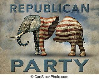 골절되는, 공화당원, 코끼리