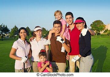 골프 코스, 친구의 그룹, 사람, 와, 아이들