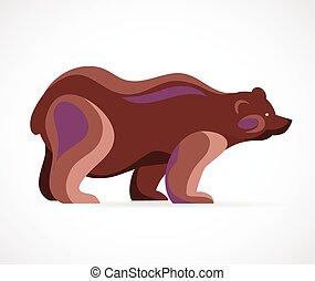 곰, 상징, -, 벡터, 삽화