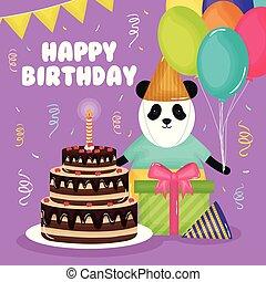 곰, 생일 케이크, 팬더, 카드, 행복하다