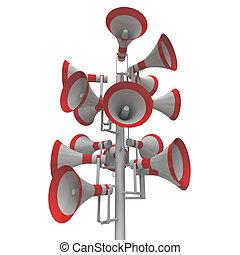 공고, hailers, 장비, 옥외, loudhailers, 오디오, 큰 소리로의, 또는, 쇼
