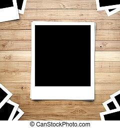 공백, 사진 프레임, 통하고 있는, 갈색의, 나무, 두꺼운 널판지, 배경