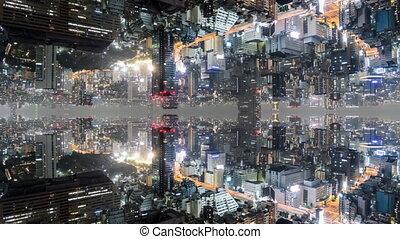 공상, 시간 경과, 의, 도쿄, 와, 비추는, 건물