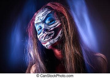 공상, hallowen, 만들다, 올라가고 있는., 아물다, 발사, 의, 요정, 얼굴, 예술